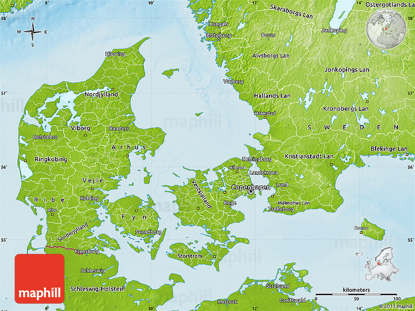 Physical Map of Denmark on
