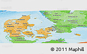 Political Shades Panoramic Map of Denmark
