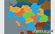 Political 3D Map of Ribe, darken