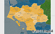 Political Shades 3D Map of Ribe, darken