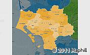 Political Shades Map of Ribe, darken