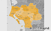 Political Shades Map of Ribe, desaturated