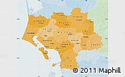 Political Shades Map of Ribe, lighten