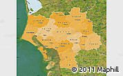 Political Shades Map of Ribe, satellite outside