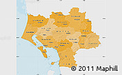Political Shades Map of Ribe, single color outside