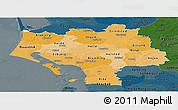 Political Shades Panoramic Map of Ribe, darken