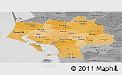 Political Shades Panoramic Map of Ribe, desaturated