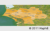 Political Shades Panoramic Map of Ribe, satellite outside