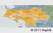 Political Shades Panoramic Map of Ribe, semi-desaturated