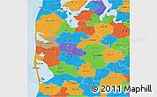 Political 3D Map of Ringkobing