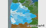 Political Shades 3D Map of Ringkobing, darken
