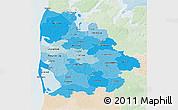 Political Shades 3D Map of Ringkobing, lighten