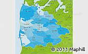 Political Shades 3D Map of Ringkobing, physical outside