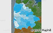 Political Shades Map of Ringkobing, darken