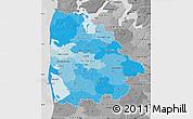 Political Shades Map of Ringkobing, desaturated