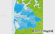 Political Shades Map of Ringkobing, physical outside