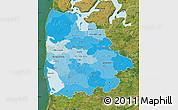 Political Shades Map of Ringkobing, satellite outside
