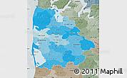 Political Shades Map of Ringkobing, semi-desaturated