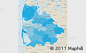 Political Shades Map of Ringkobing, shaded relief outside