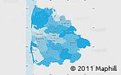 Political Shades Map of Ringkobing, single color outside