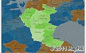 Political Shades 3D Map of Roskilde, darken