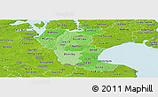 Political Shades Panoramic Map of Roskilde, physical outside