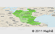 Political Shades Panoramic Map of Roskilde, shaded relief outside
