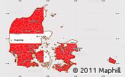 Flag Simple Map of Denmark