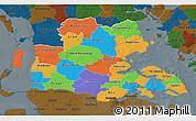 Political 3D Map of Sonderjylland, darken