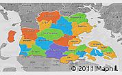Political 3D Map of Sonderjylland, desaturated