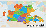 Political 3D Map of Sonderjylland, lighten