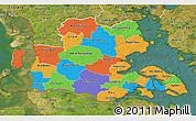 Political 3D Map of Sonderjylland, satellite outside