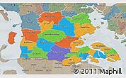 Political 3D Map of Sonderjylland, semi-desaturated