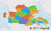 Political 3D Map of Sonderjylland, single color outside
