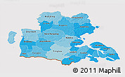 Political Shades 3D Map of Sonderjylland, cropped outside