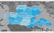 Political Shades 3D Map of Sonderjylland, darken, desaturated