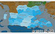 Political Shades 3D Map of Sonderjylland, darken