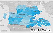 Political Shades 3D Map of Sonderjylland, lighten, desaturated