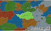 Political 3D Map of Christiansfeld, darken