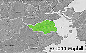 Political 3D Map of Christiansfeld, desaturated