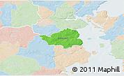 Political 3D Map of Christiansfeld, lighten
