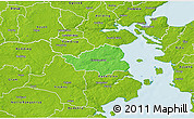 Political 3D Map of Christiansfeld, physical outside