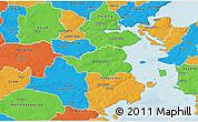 Political 3D Map of Christiansfeld