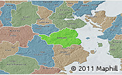 Political 3D Map of Christiansfeld, semi-desaturated