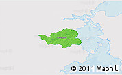 Political 3D Map of Christiansfeld, single color outside
