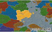 Political 3D Map of Haderslev, darken