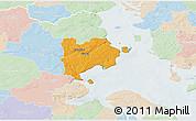 Political 3D Map of Haderslev, lighten