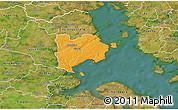 Political 3D Map of Haderslev, satellite outside