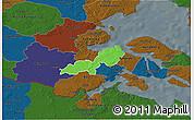 Political 3D Map of Lundtoft, darken