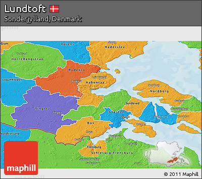 Political 3D Map of Lundtoft